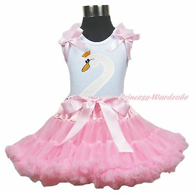 Easter White Swan Print Top Light Pink Pettiskirt Baby Girl Outfit Set 1-8Y