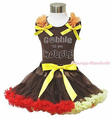 Thanksgiving Rhinestone Gobble Wobble Brown Top Baby Girl Pettiskirt Outfit 1-8Y