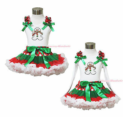 XMAS Ginger Snowman White Top Green White Dot Red Skirt Baby Girl Outfit 1-8Year