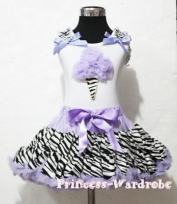 White Top Zebra Lavender Ice Cream Pettiskirt Girls Party Cloth Outfit Set 1-8Y