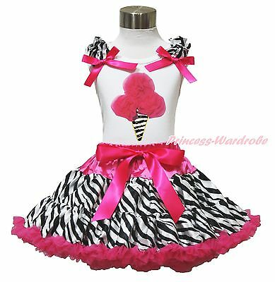 White Top Zebra Hot Pink Ice Cream Pettiskirt Baby Girls Cloth Dress Outfit 1-8Y
