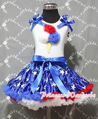 4th July White Top Ice Cream Patriotic Star Pettiskirt Girl Cloth Outfit 1-8Year