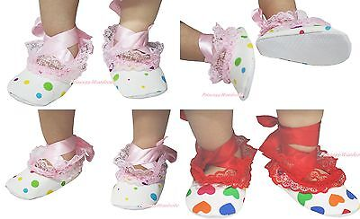 Infant Newborn Hot Red Pink Rainbow Dot Heart Lace Ribbon Baby Crib Shoes NB-18M