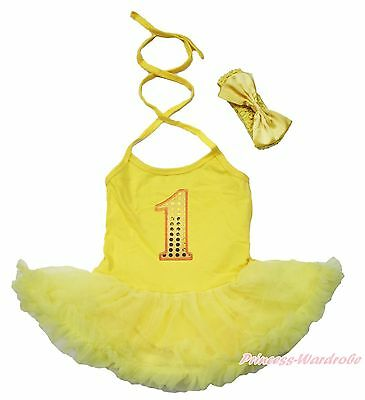 Bling 1ST Birthday Yellow Halter Bodysuit Pettiskirt One Piece Baby Dress NB-2Y