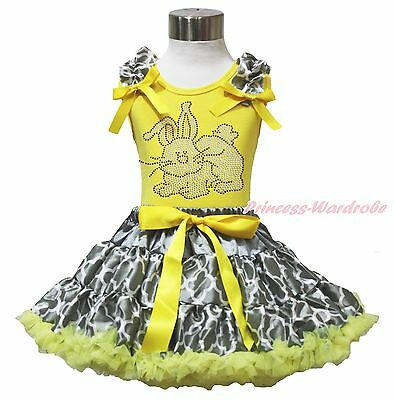 Easter Rhinestone Bunny Yellow Top Gray Quatrefoil Clover Skirt Outfit Set 1-8Y