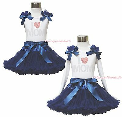 White Top Rhinestone LOVE MOM Sailor Navy Blue Pettiskirt Girl Outfit Set 1-8Y