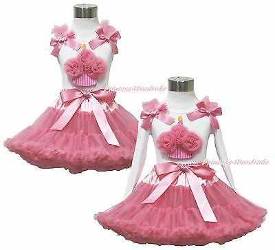 Birthday Cupcake White Top Shirt Dusty Pink Skirt Pettiskirt Outfit Set 1-8Year