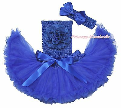 Royal Blue Crochet Tube Top Newborn Baby Girl Tutu Outfit Pettiskirt Set NB-2Y