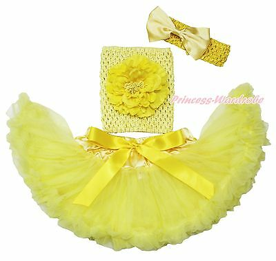 Yellow Crochet Tube Top Newborn Baby Girl Tutu Outfit Pettiskirt Skirt Set NB-2Y
