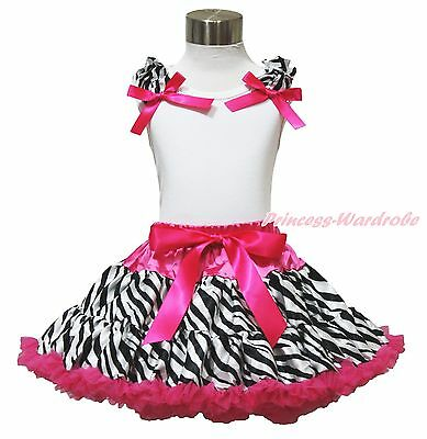 White Top Hot Pink Zebra Ruffle Bow Pettiskirt Baby Girl Clothing Outfit 1-8Year