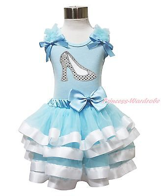 Princess Cinderella Slipper Blue Top Satin Trim Pettiskirt Girl Outfit Set NB-8Y