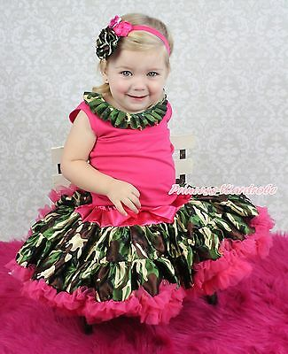 Hot Pink Shirt Top Camouflage Lacing Pettiskirt Skirt Girl Cloth Outfit Set 1-8Y