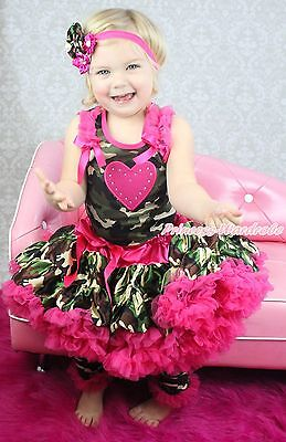Valentine Heart Camouflage Top Pettiskirt Girl Outfit Leg Warmer Accessory 1-8Y