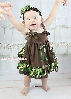 Baby Girls Tree Brown Camouflage Birthday 1ST Swing Top Bloomer Outfit Set NB-2Y