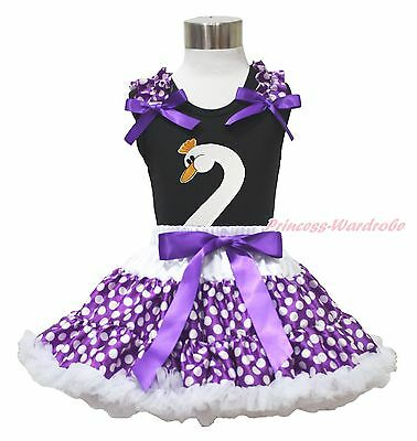 Easter Black Top Goose Swan Purple White Polka Dots Skirt Girl Cloth Outfit 1-8Y