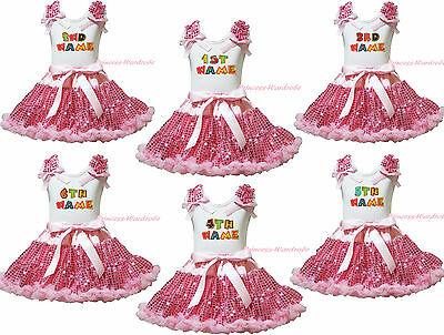 Personalize Custom 1ST Birthday Baby Name White Top Pink Bling Sequin Skirt 1-8Y