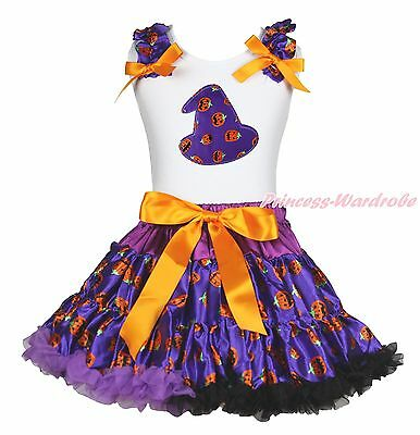 Halloween White Top Shirt Purple Pumpkin Hat Pettiskirt Skirt Girls Outfit 1-8Y