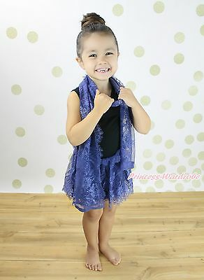 Black Sleeveless Navy Blue Lace Girl Kid One Piece Party Dress Scarf Outfit 1-8Y