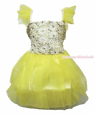 Yellow Bling Sequins Flowers One Piece Girl Party Dress Kids Costume TuTu 1-8Y