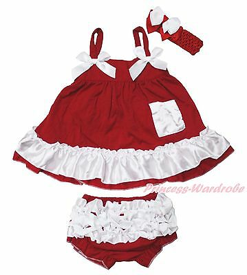 Xmas Red White Newborn Baby Girls Elegant Swing Top Bloomer Outfit Set NB-2Year