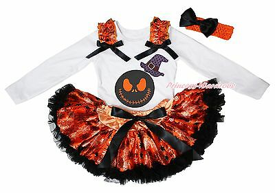 Jack Hat Halloween White Top Orange Spider Web Girls Baby Skirt Outfit Set 3-12M