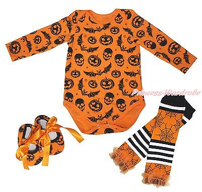 Halloween Pumpkin Skull Bat One Piece Baby Girl Bodysuit Shoes Leg Warmer NB-18M