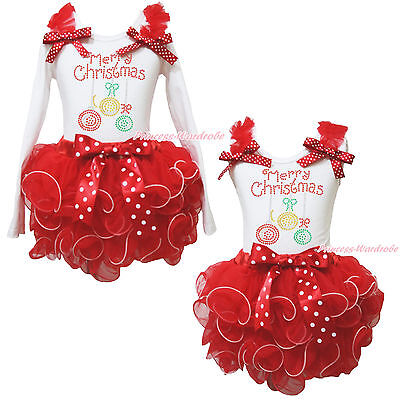 Merry Christmas Lighting White Top Red Petal Pettiskirt Skirt Girls Outfit NB-8Y