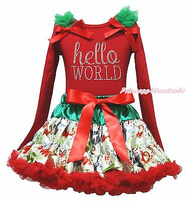 Christmas Rhinestone Hello World Red Top Snowman Skirt Girl Clothing Outfit 1-8Y