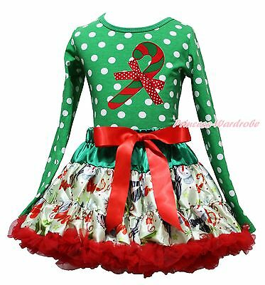 Christmas Candy Cane Green White Dot Top Snowman Skirt Girl Clothing Outfit 1-8Y