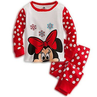 Baby Girls Kids Minnie Mouse Red spotty pjs Size 18-24 Months (100cm)