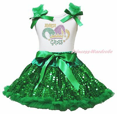 MY First Mardi Gras Clown Hat White Top Green Bling Sequins Girls Skirt Set 1-8Y