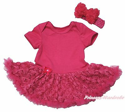 Plain Valentine Hot Pink Bodysuit Girls Romantic Rose Baby Dress Outfit NB-18M