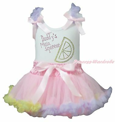 Valentine Daddy Main Squeeze White Top Pink Rainbow Girl Baby Skirt Outfit 3-12M