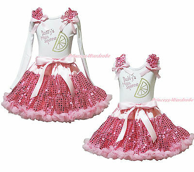 Valentine Daddy Main Squeeze White Top Pink Bling Sequins Girl Skirt Outfit 1-8Y