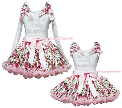 Mummy Little Valentine Cotton White Top Rose Floral Girls Pettskirt Outfit 1-8Y
