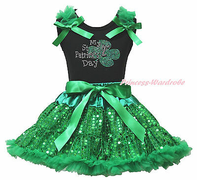 Black Top My 2ND St Patrick Day Clover Green Sequins Bling Girls Skirt Set 1-8Y
