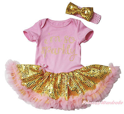 I m So Sparkly Pink Bodysuit Gold Bling Sequins Girls Baby Dress Outfit NB-18M