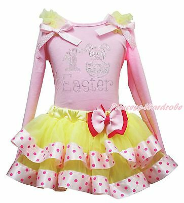 My 1ST Easter Bunny Rabbit Egg Pink Top Yellow Dot Satin Trim Skirt Girls NB-8Y