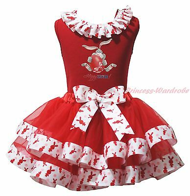 Happy Easter Bunny Egg Paint Red Top Rabbit Satin Trim Skirt Girls Outfit NB-8Y