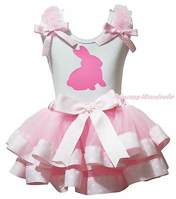 Easter Bunny Rabbit Paint White Top Pink Dot Satin Trim Skirt Girls Outfit NB-8Y