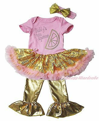 Daddy Main Squeeze Pink Bodysuit Gold Sequins Girls Baby Dress Trousers NB-18M