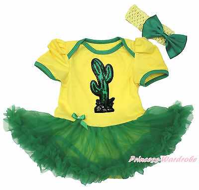 Cinco de Mayo Bling Cactus Yellow Bodysuit Girls Green Mexico Baby Dress NB-18M