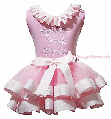 My Little Pink Dress Cotton Top White Dot Satin Trim Skirt Girl Outfit Set NB-8Y