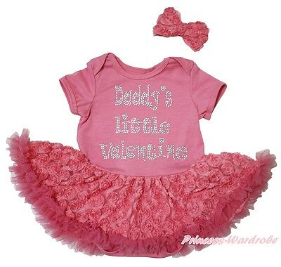 Daddy Little Valentine Dusty Pink Bodysuit Girl Romantic Rose Baby Dress NB-18M