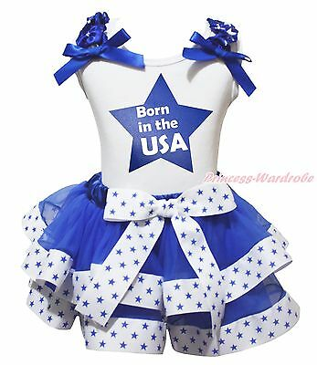 Born In The USA 4th July White Top White Blue Star Satin Trim Skirt Girls NB-8Y