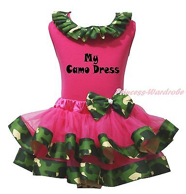 My Camo Dress Hot Pink Cotton Top Camouflage Satin Trim Girls Skirt Outfit NB-8Y