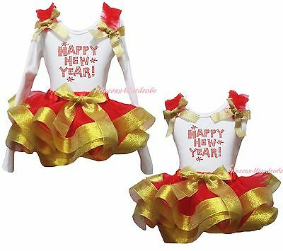 Happy New Year White Cotton Top Gold Red Satin Trim Skirt Girl Outfit Set NB-8Y