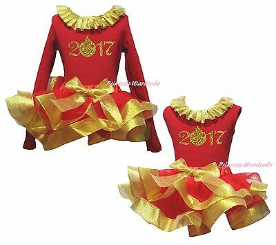 2017 New Year Cotton Top Gold Red Satin Trim Skirt Girls Clothing Outfit NB-8Y