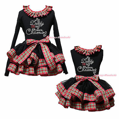 Daddy Is My Prince Charming Top Red Green Check Black Satin Trim Skirt Girl 0-8Y