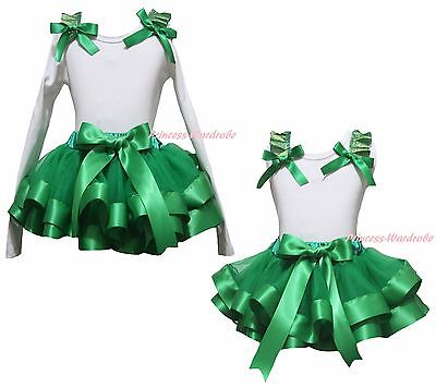 Plain Xmas White Cotton Top Kelly Green Satin Trim Skirt Girls Outfit Set NB-8Y